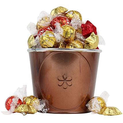 Bucket Of Love Festive Red And Gold Choccies