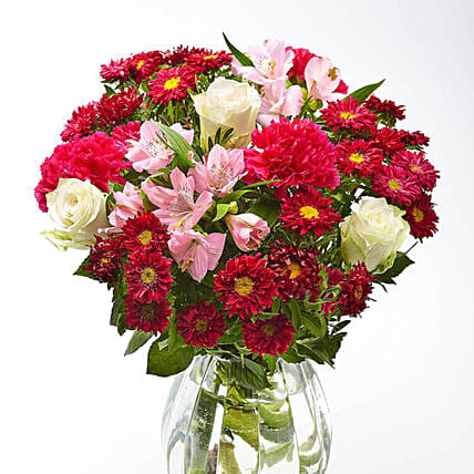 Burst Of Blooms With Roses And Carnations:Send Carnation Flower to UK