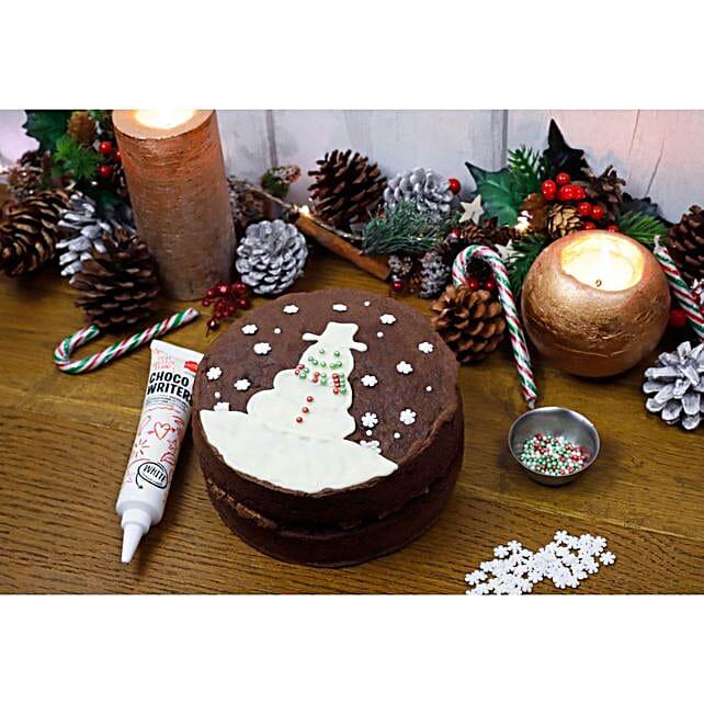 Chocolate Cake And Christmas Decoration Set:Send Christmas Cakes to UK