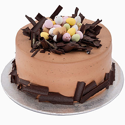 Delectable Easter Eggs Topped Chocolate Cake