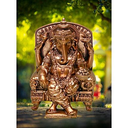 Elegant Copper Ganesha Idol