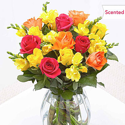 Enchanting Roses And Freesia Bouquet:Send Roses to UK
