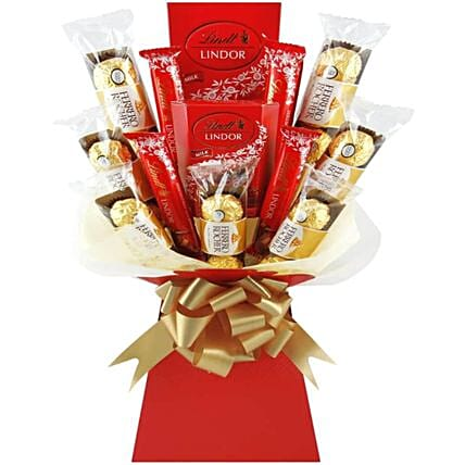 Ferrero And Lindt Chocolate Bouquet:Send Chocolate to UK