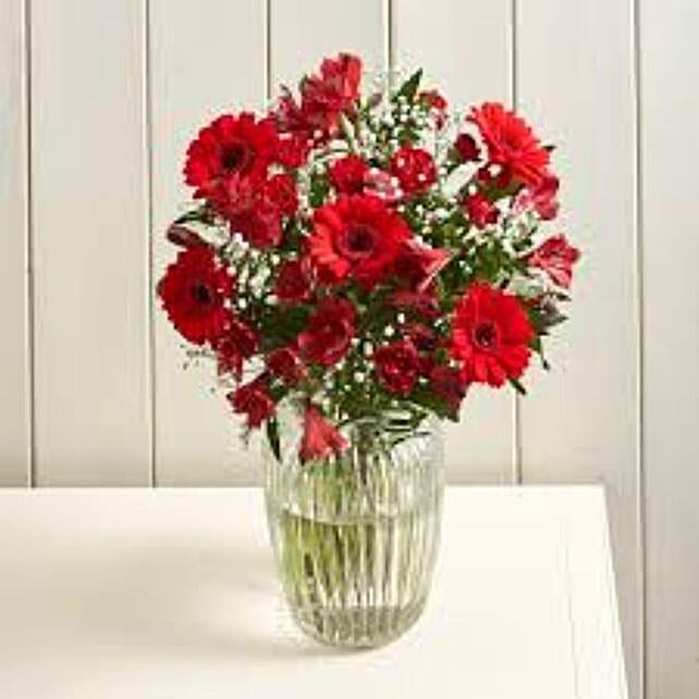 Glittering Red Christmas Morning Flowers