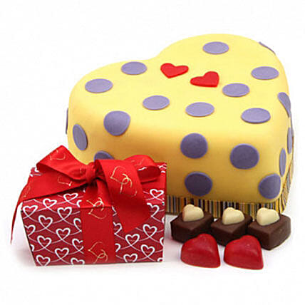 Hearts And Dots Cake Gift:Gifts for Wife in UK