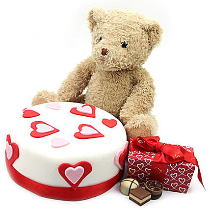 Hearts Cake With Teddy N Chocolates:Order  Cakes to UK