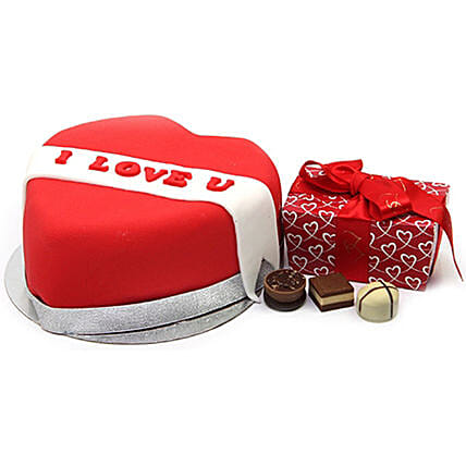 I Love You Ribbon Heart Cake And Chocolates:Gift Combos to UK