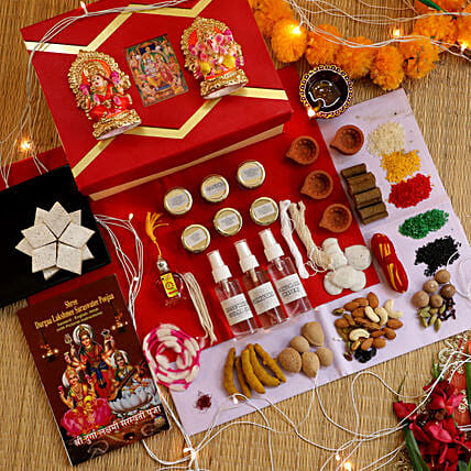 Lakshmi Ganesha Diwali Pooja Box:Send Diwali Gifts to UK