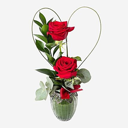 Luxurious Gift Of Two Red Roses:Send Flower Bouquet to UK