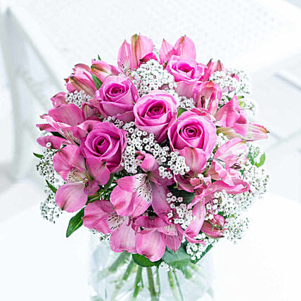 Magical Bloom Of Roses And Alstroemeria