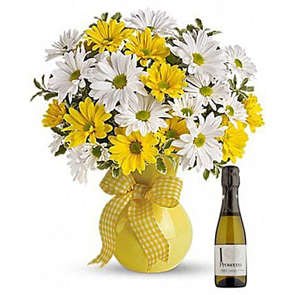 Majestic Chrysanthemums Bouquet With Wine