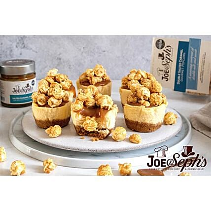 Mini Vanilla Cheesecakes With Joe And Sephs Popcorn:Send Birthday Cakes to UK