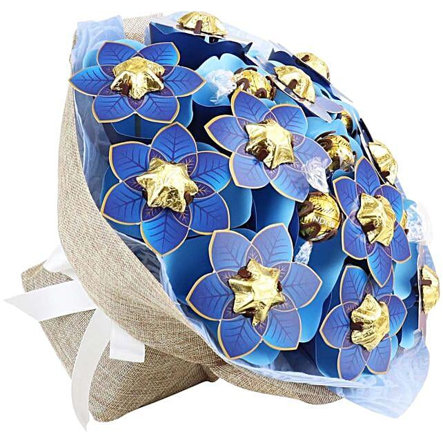 Navy Poinsettia Flower Bouquet Grand