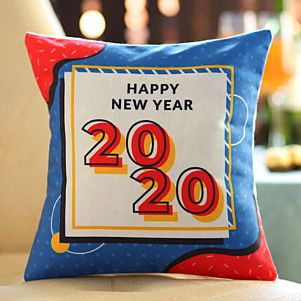Happy new year text printed cushion online