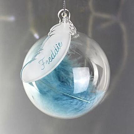 Personalised Blue Feather Bauble:Personalised Gifts to UK