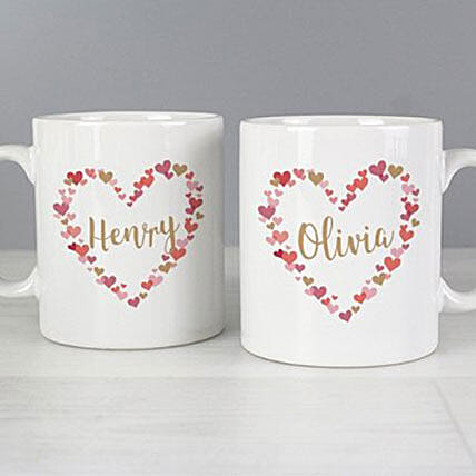 Personalised Confetti Hearts Wedding Mug Set:Personalised Mugs to UK