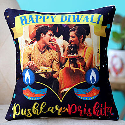 personalised happy diwali cushion for couple:Personalised Gifts to UK