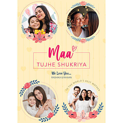 Personalised Maa Tujhe Shukriya Digital Collage:Send Mothers Day Gifts to UK