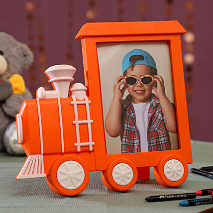 Personalised Orange Train Photo Frame