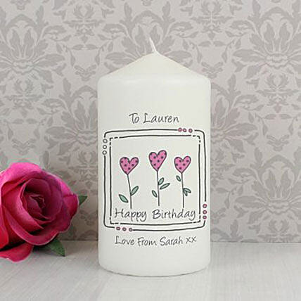 Personalized 3 Hearts Message Candle