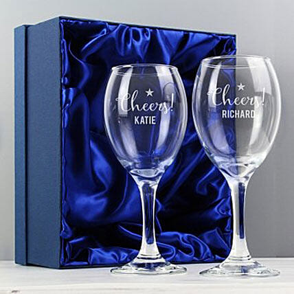 Personalized Cheers Wine Glass Set Of 2:Send Fathers Day Gifts to UK