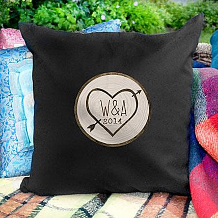 Personalized Lovestruck Black Cushion Cover:Birthday Cushion to UAE