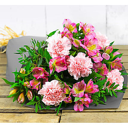 Pink Alstroemeria And Carnations Bouquet:Send Flowers to UK