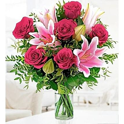 Pink Lilies And Rose Bouquet