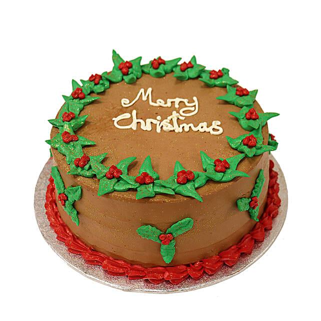 Retro Merry Christmas Chocolate Cake:Gift Discount for UK