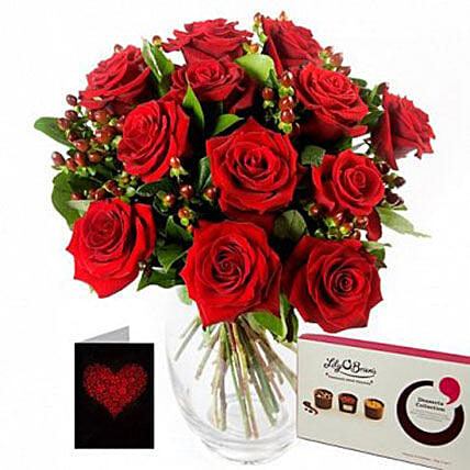 Romance Over Roses Chocolates N Love Note