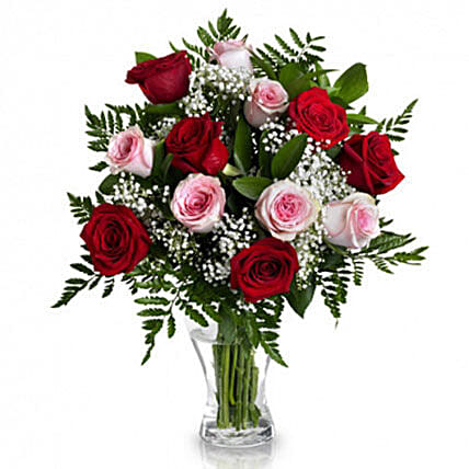 Romantic Expression Of Lovered And Pink Roses