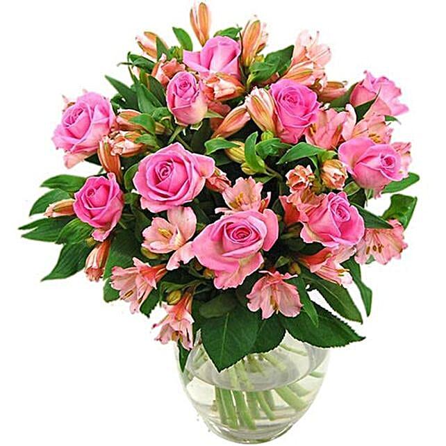 Splendid Roses N Alstroemerias Bouquet:New Arrival Gifts UK