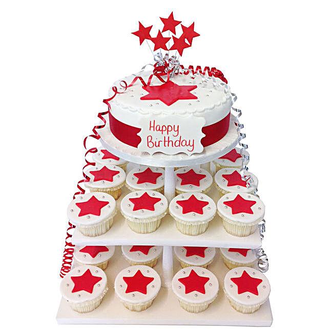 Starry Cake Tower:Send Birthday Cakes to UK