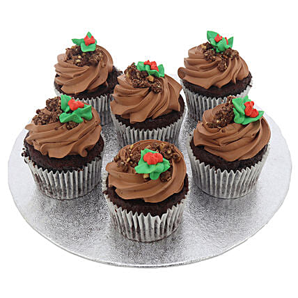 Tasty Dark Chocolate Topped Cup Cakes 6 Pcs