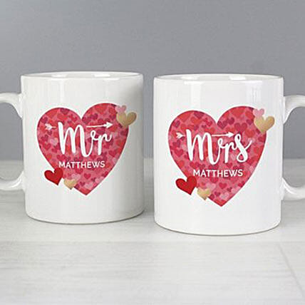 Personalised Mr And Mrs Valentines Day Confetti Hearts Mug Set