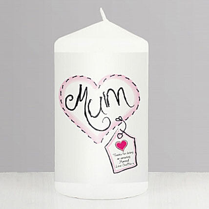 Personalised Heart Stitch Mum Candle:Personalised Gifts to UK