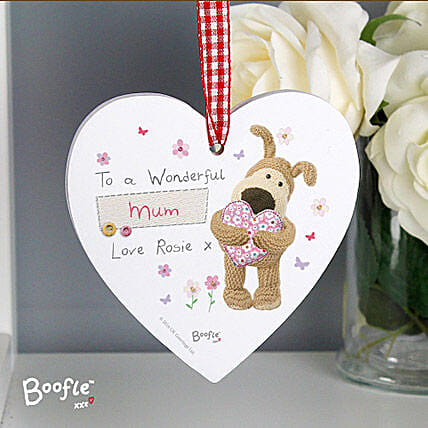 Personalised Flowers Wooden Heart Decoration:Personalised Gifts to UK