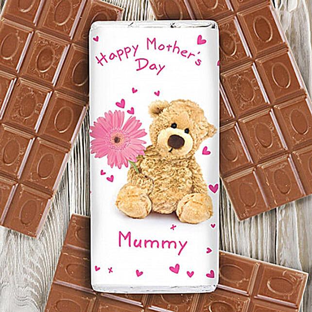 Personalised Teddy Flower Milk Chocolate Bar:Send Personalised Gifts to UK