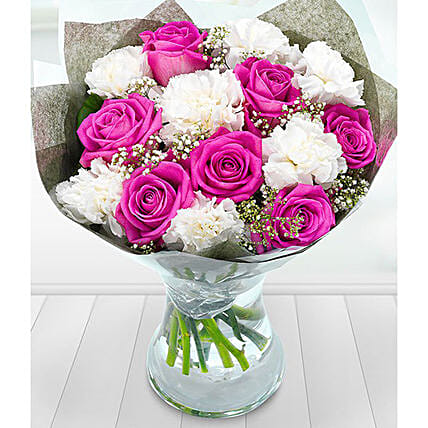 Carnations And Roses Bunch