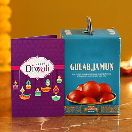 Gulab Jamun With Diwali Card