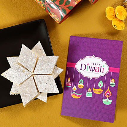 Kaju Katli With Diwali Card:Send Diwali Gifts to UK
