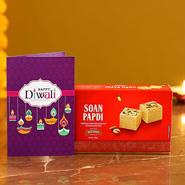 Soan Papdi With Diwali Card