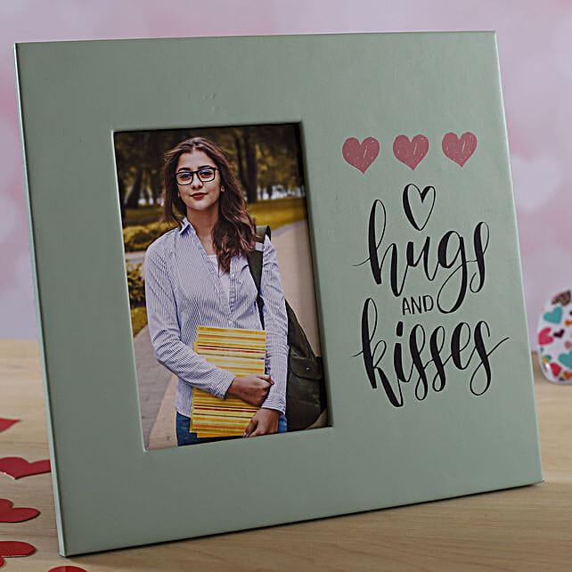 Hugs N Kisses Personalised Photo Frame:Send Personalised Gifts to UK