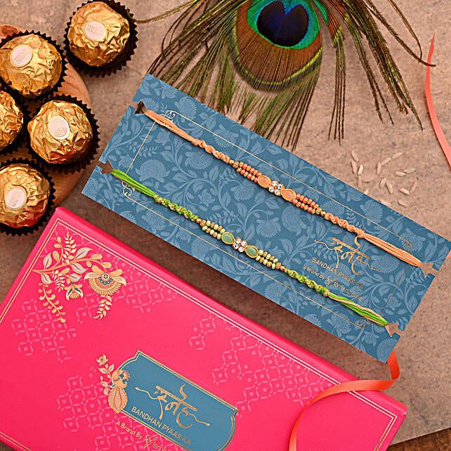Designer Stone Rakhi Combo And 3 Pcs Ferrero Rocher