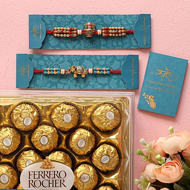 Meenakari Elephant And Kalash Rakhi Set With 16 Pcs Ferrero Rocher