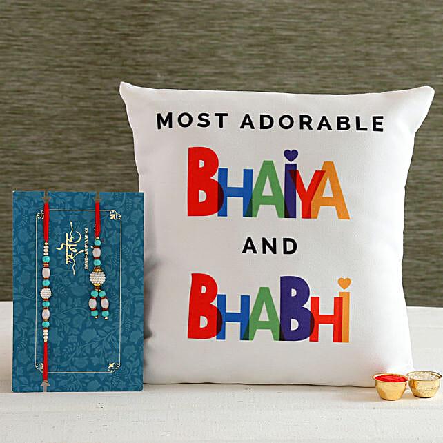 Blue Lumba Rakhi Set And Bhaiya Bhabhi Cushion