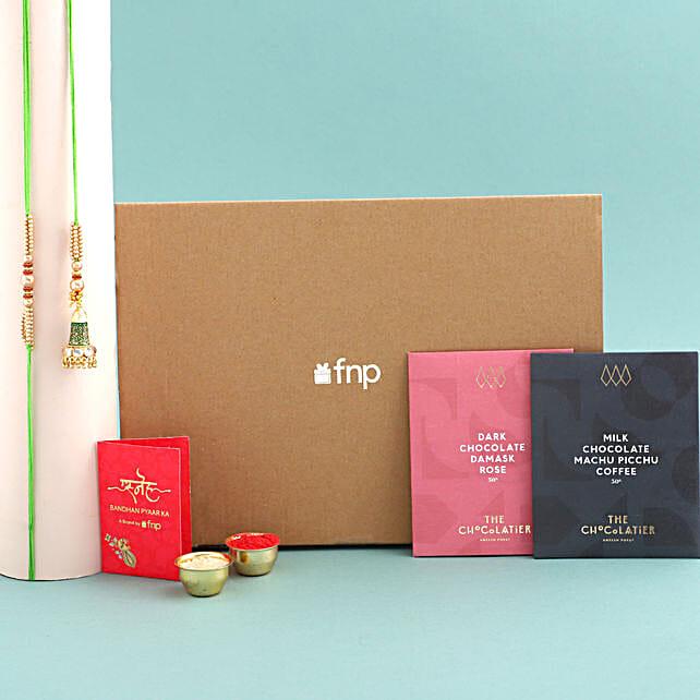 Green Lumba Rakhi Set And Dark Chocolates