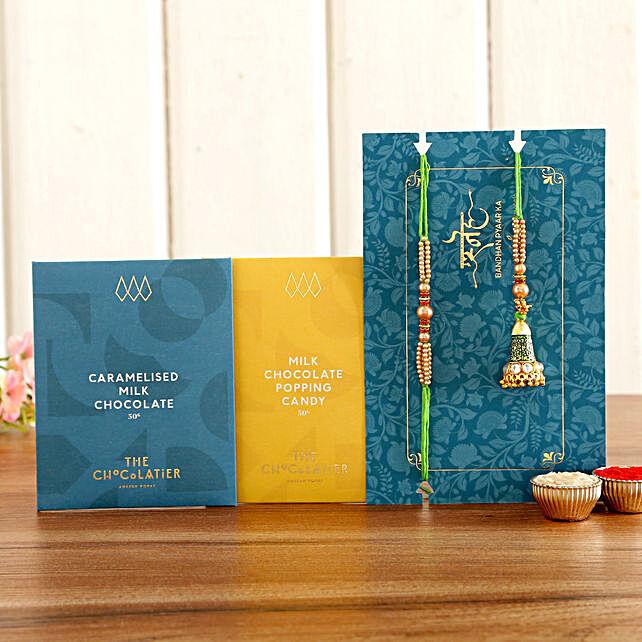 Green Lumba Rakhi Set And Premium Chocolates