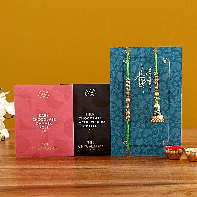 Green Lumba Rakhi Set And Chocolates
