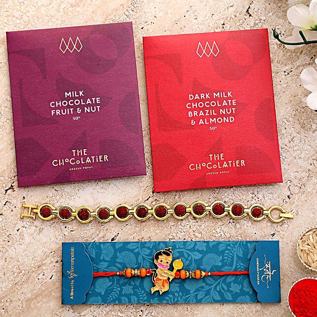 2 Devotional Rakhis And Premium Milk Chocolates:Letterbox Rakhi to UK